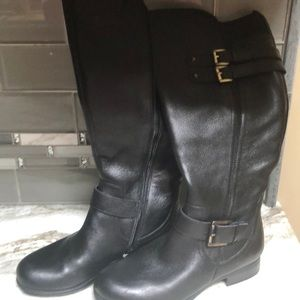 NATURALIZER BLACK LEATHER BOOTS NEW6.5 WIDE CALF